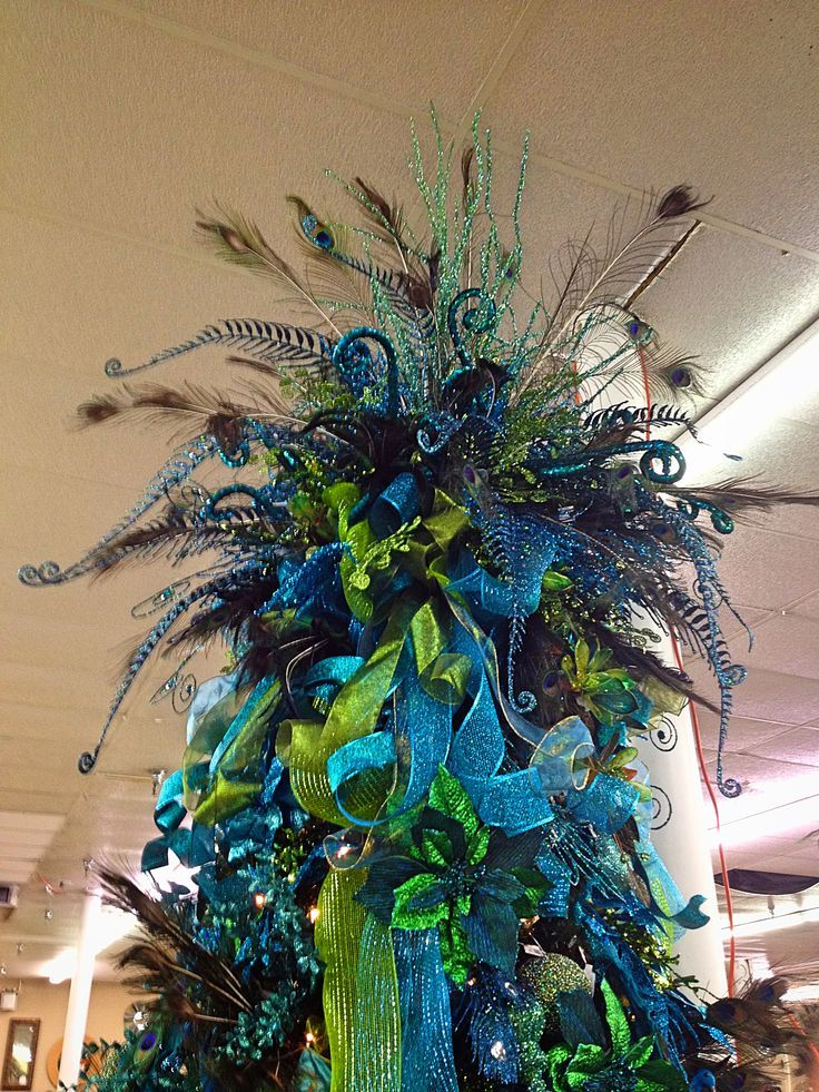 Large Peacockinspired Tree Topper With Lots Of Blue And Green