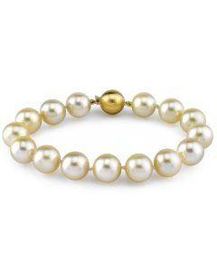 14822e36ed89d 10-11mm Champagne Golden South Sea Pearl Bracelet in 14K Gold - AAAA ...