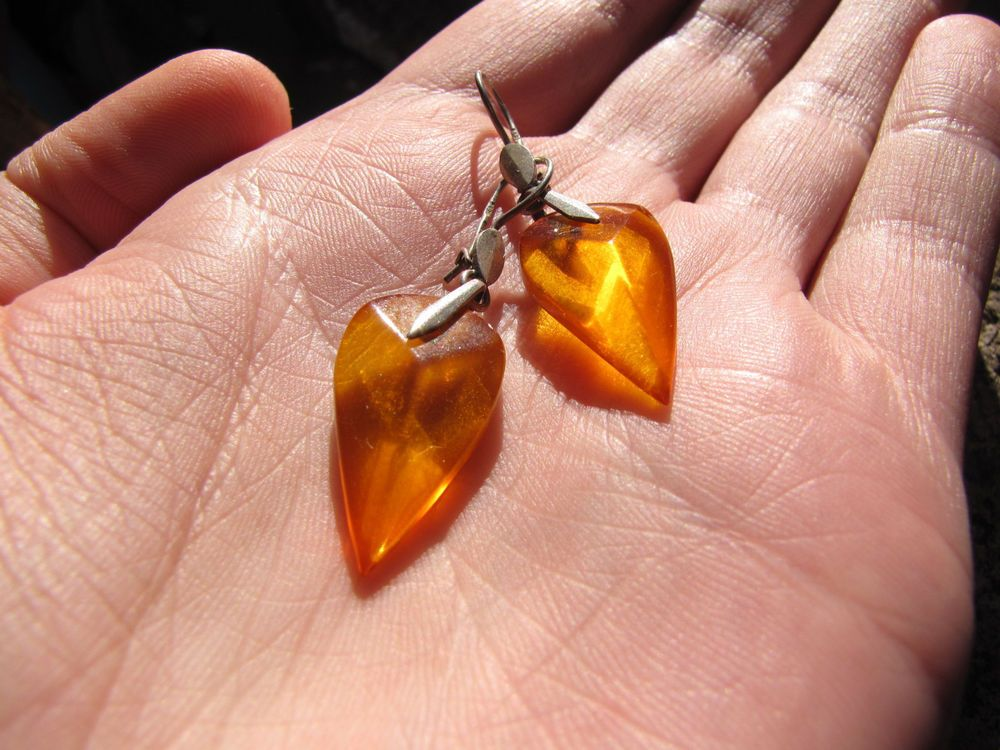 Natural Baltic amber 3 gr clips earrings cognac 琥珀 USSR jewelry #HandMade
