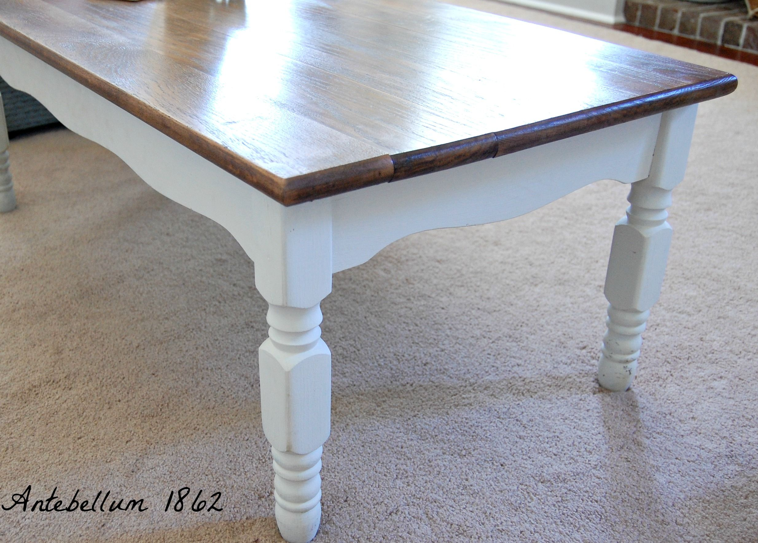 Oak coffee table painted in Annie Sloan's old white chalk ...