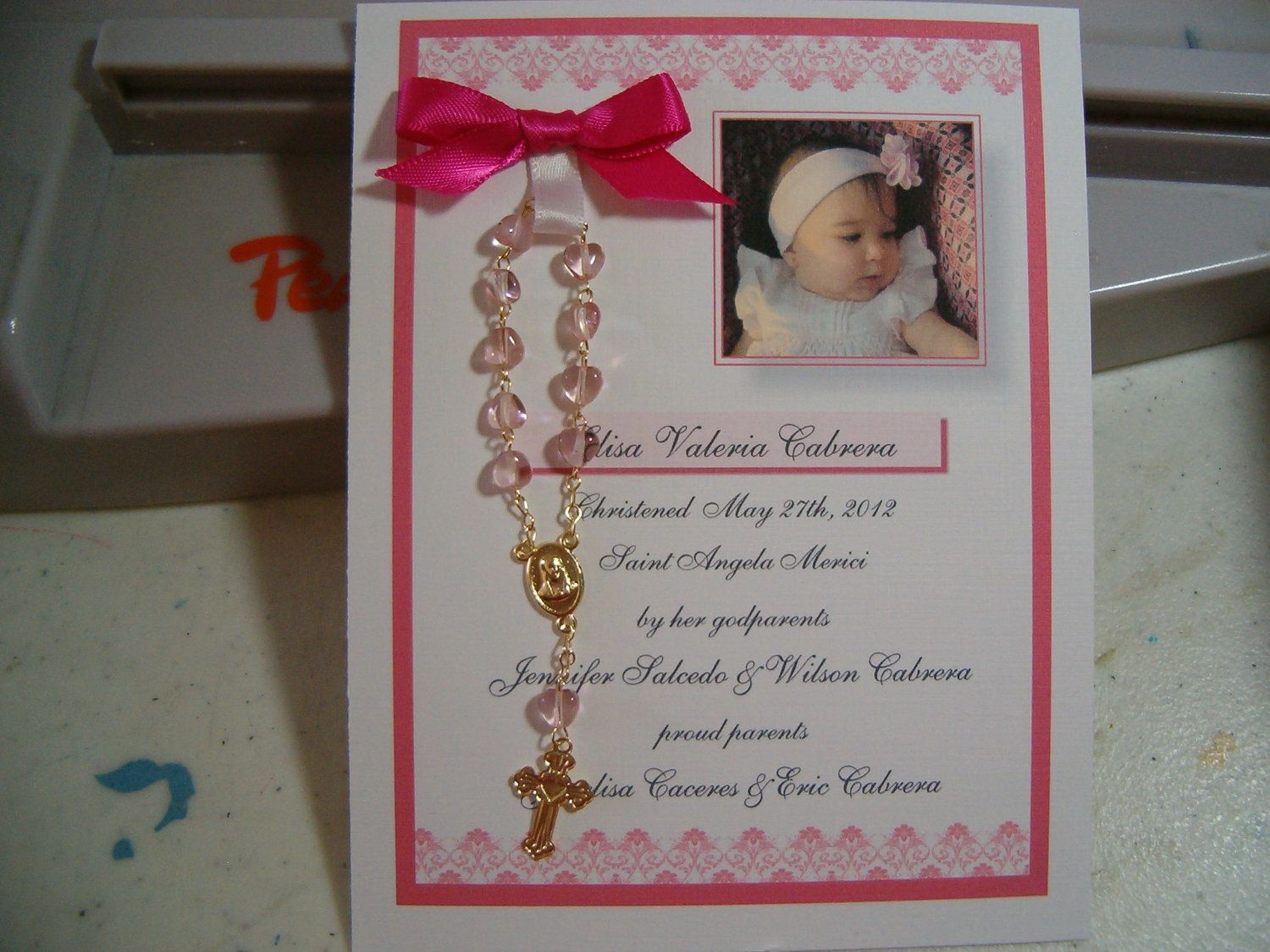 15 Baptism Favors Rosary Card For Veronica For My Girls