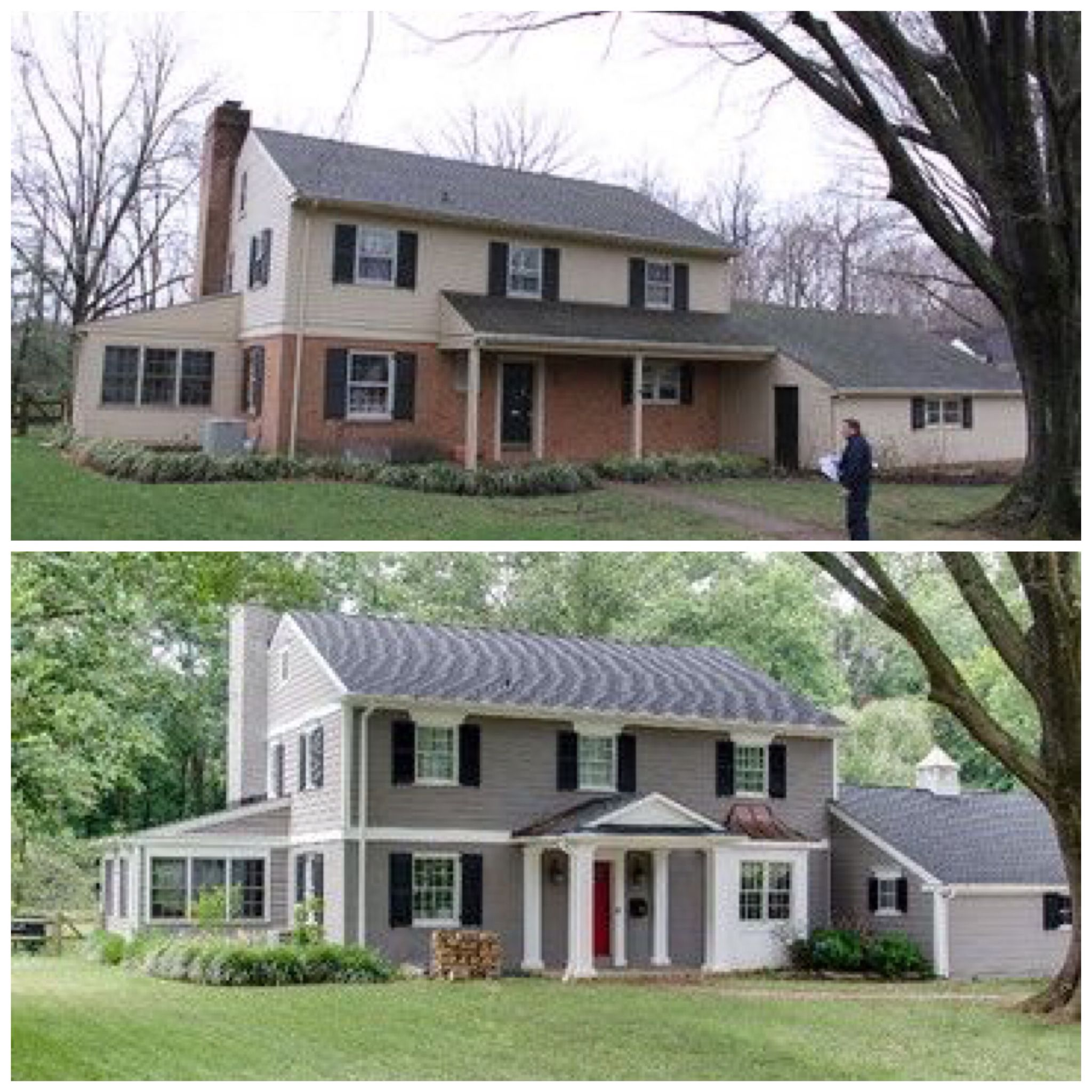 Great link for before and after ideas 80 39 s stock honey oak to updated with vintage rustic flare - Paint exterior brick before after collection ...