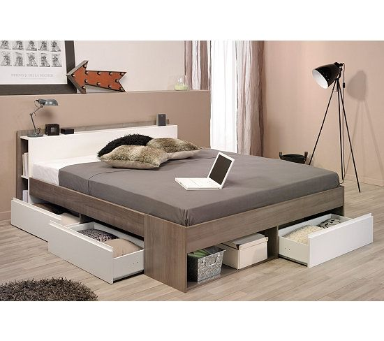 lit 140x190 200 cm puzzle noyer et blanc noyer lit 140x190 et lits. Black Bedroom Furniture Sets. Home Design Ideas
