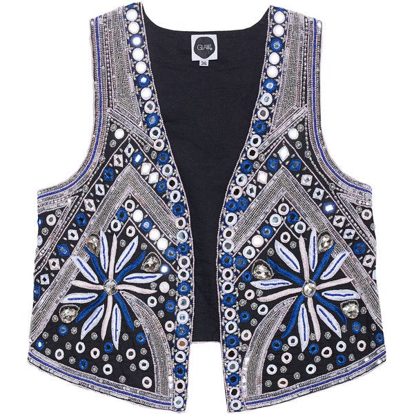 GLAW Mirror Gemstone Blue // Embroidered vest (1.137.975 COP) ❤ liked on Polyvore featuring outerwear, vests, vest, blue waistcoat, embroidered vest, sequin vest, slim fit vest and vest waistcoat