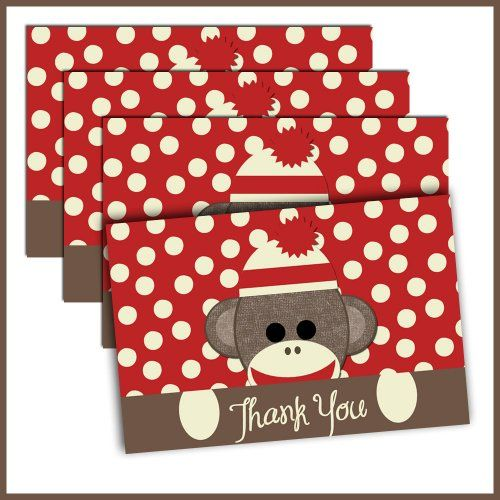 Sock Monkey Thank You post cards by Lullaby Loo on Artfire