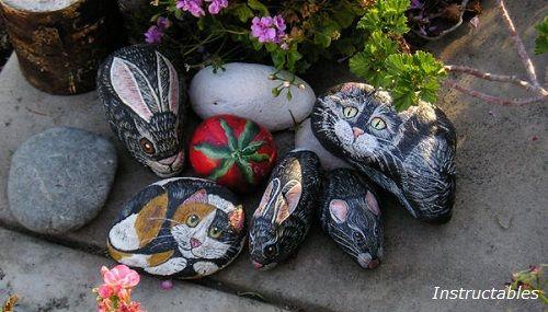 Piedras decoradas con animales de instructables - Manualidades con piedras de playa ...