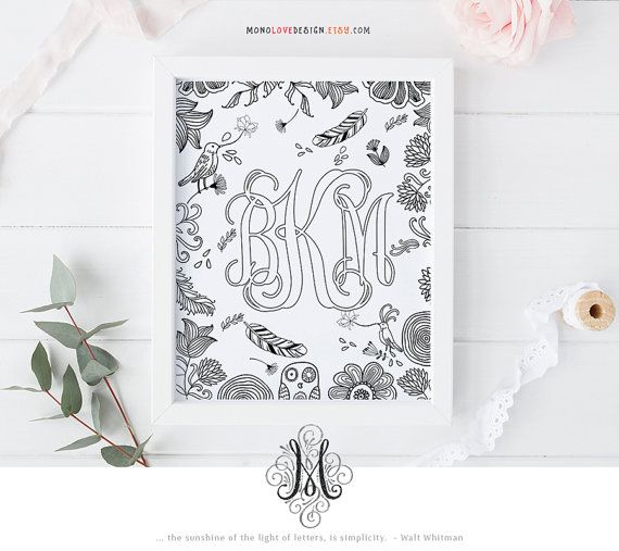 Printable Coloring Page Wedding Monogram Family Crest Name Initial Art Design Wall Floral Alphabet Letter