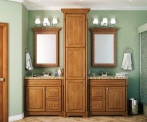 Bathroom Vanity And Linen Closets | Vanity With Tall Linen Cabinet Rec  Essed Shower Niche Vanity With .