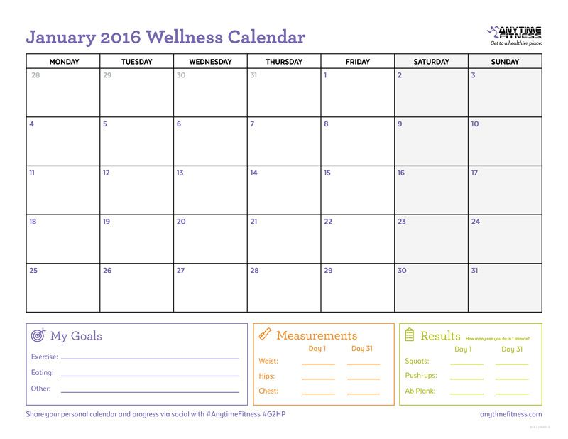 Use this workout calendar to keep track of your activity plans per