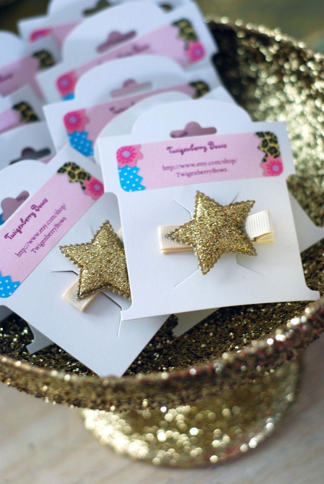 Golden Birthday Party golden star hair clips   Harper's ...