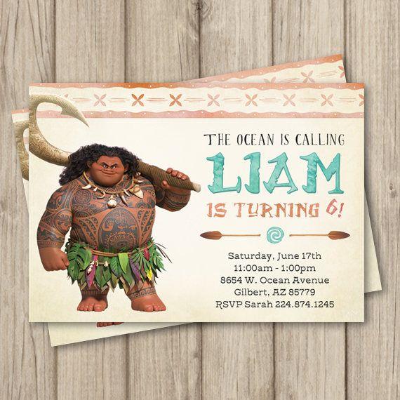 MOANA MAUI BIRTHDAY Invitation Maui birthday Invitation Moana