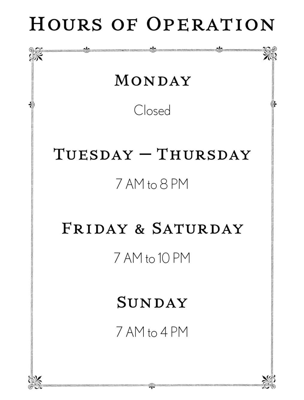 Business Hours Template Microsoft Word Business Letter Throughout Hours Of Operation Template Microsoft W Business Hours Sign Microsoft Office Word Office Word