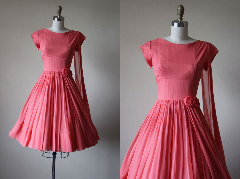 1950s Dress - Vintage 50s Dress - Coral Chiffon Draped Goddess Party ...