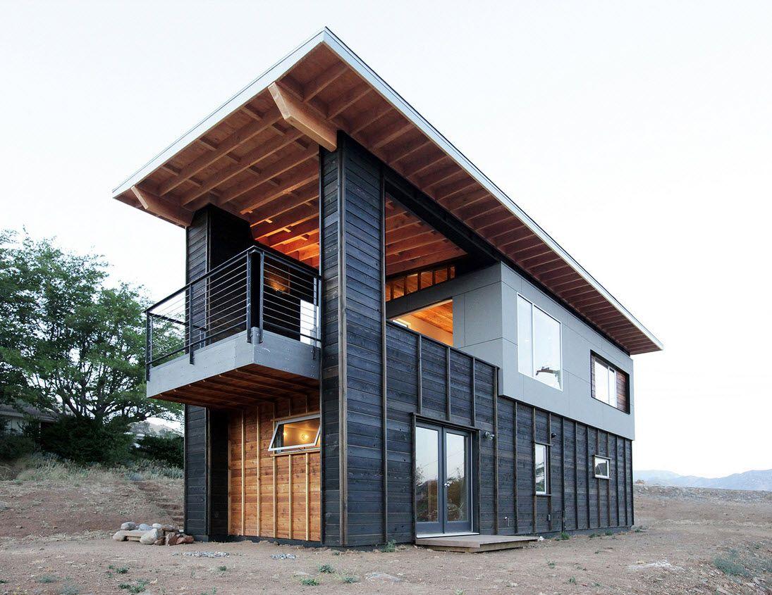 Dise o de caba a moderna de dos pisos peque a - Construccion de cabanas de madera ...