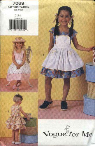 Vogue Sewing Pattern 7069 Girls Size 2-3-4 Easy Ruffled Skirt ...