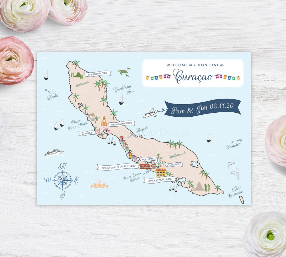 Curacao Map Save the Date Postcard Card Etsy