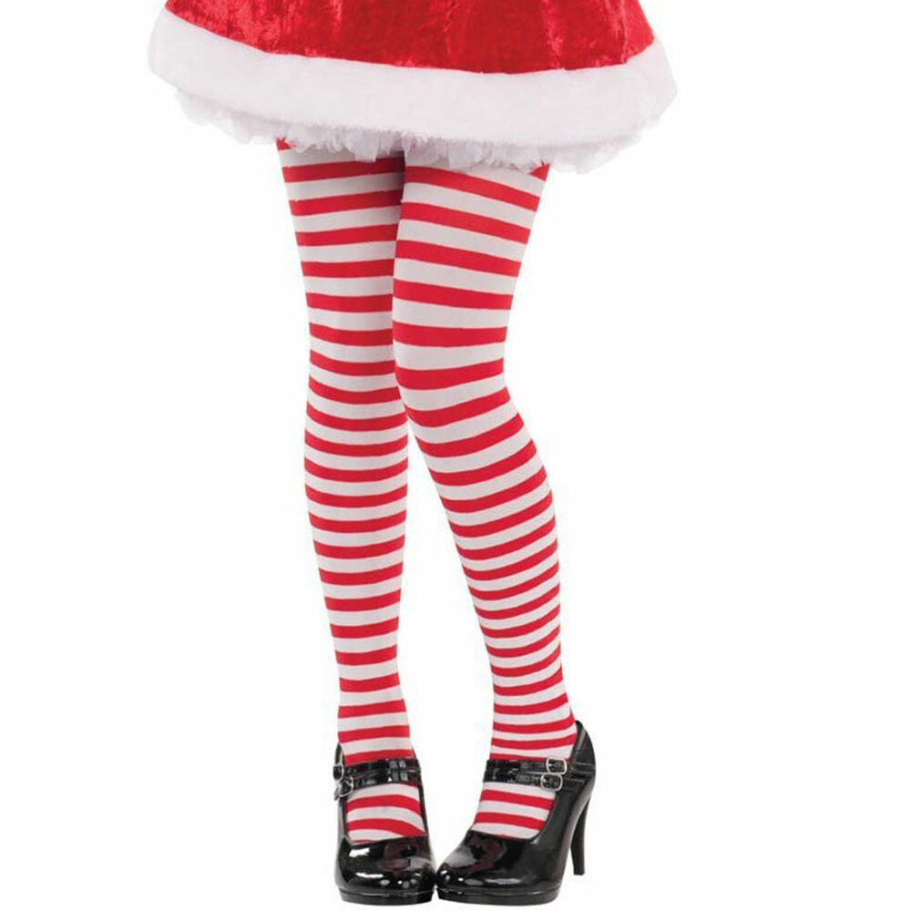 Childs Candy Striped Tights Red And White 6-8 Years Where's Wally Elf Christmas