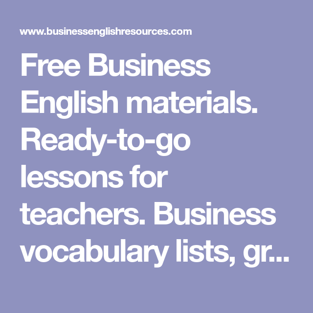 business english resources for teachers free