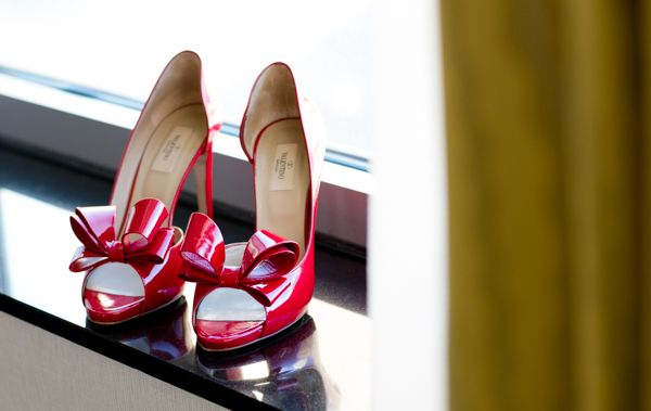 Red bow valentinos.