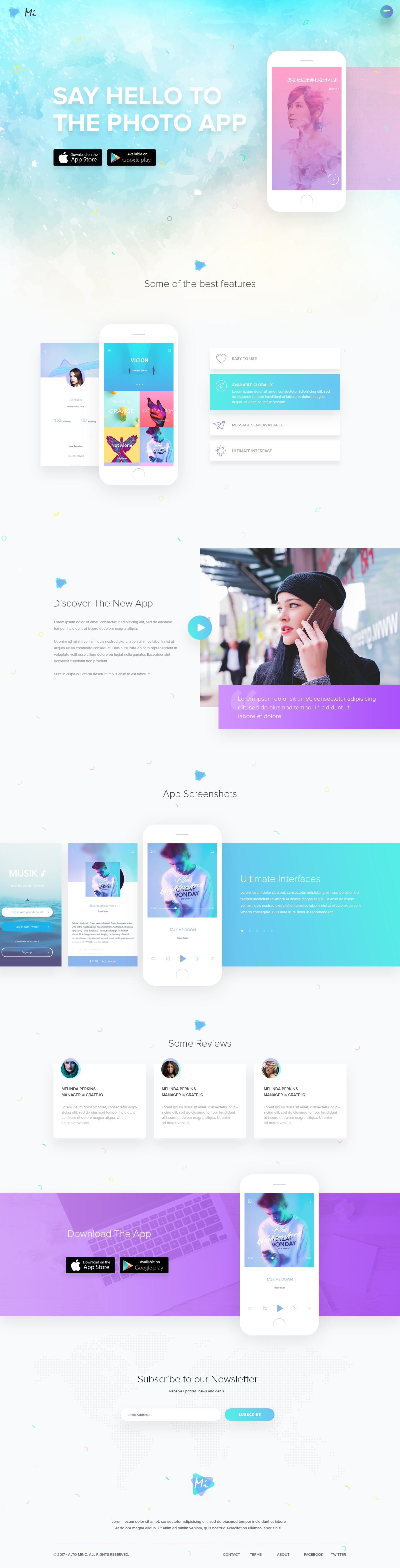Mobile App Landing Page Tech Design Layout In 2020 Creative Web Design Website Design App Landing Page