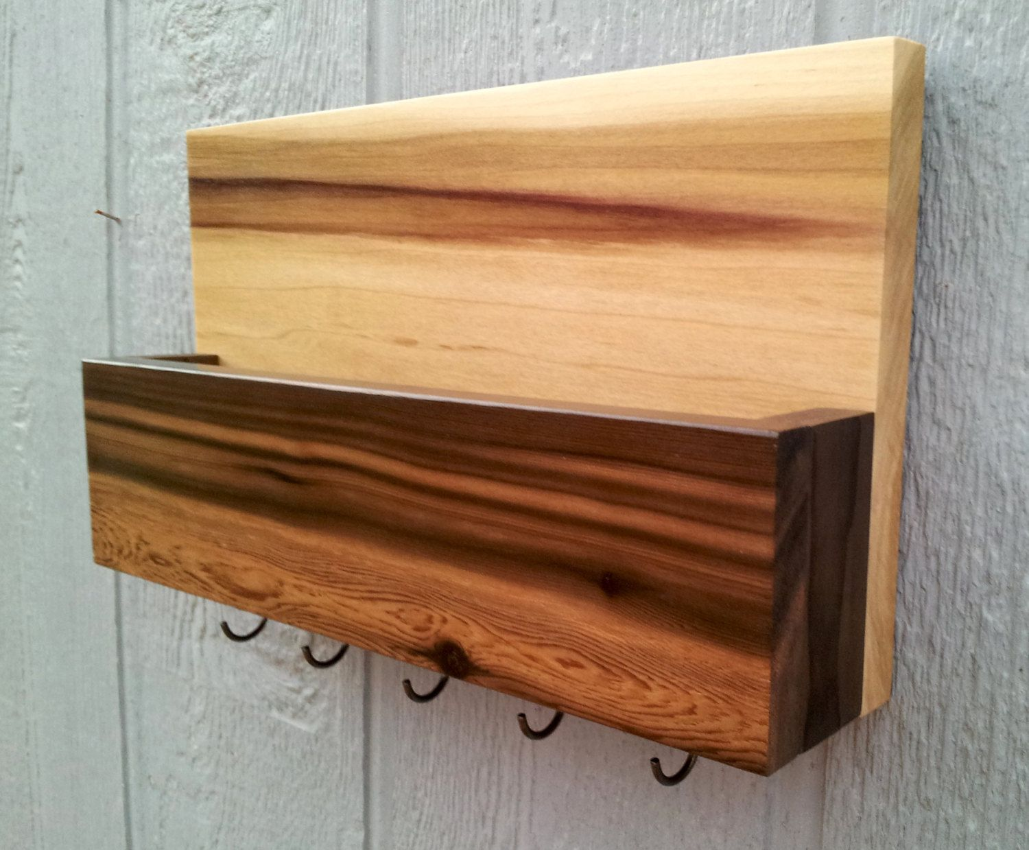 Wooden Key Holder With Shelf Mail And Key Holder Key Rack Handmade Cedar And