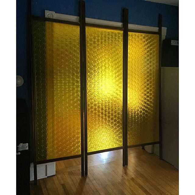 Patterned acrylic tension pole room dividers Mid Century Room