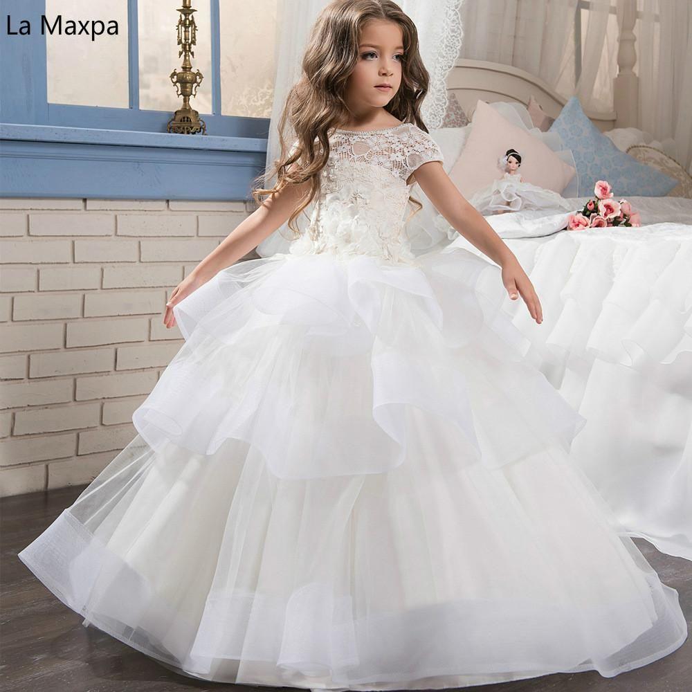 New Fashion Mesh White Lace Long Dress Girl S Wedding Dress