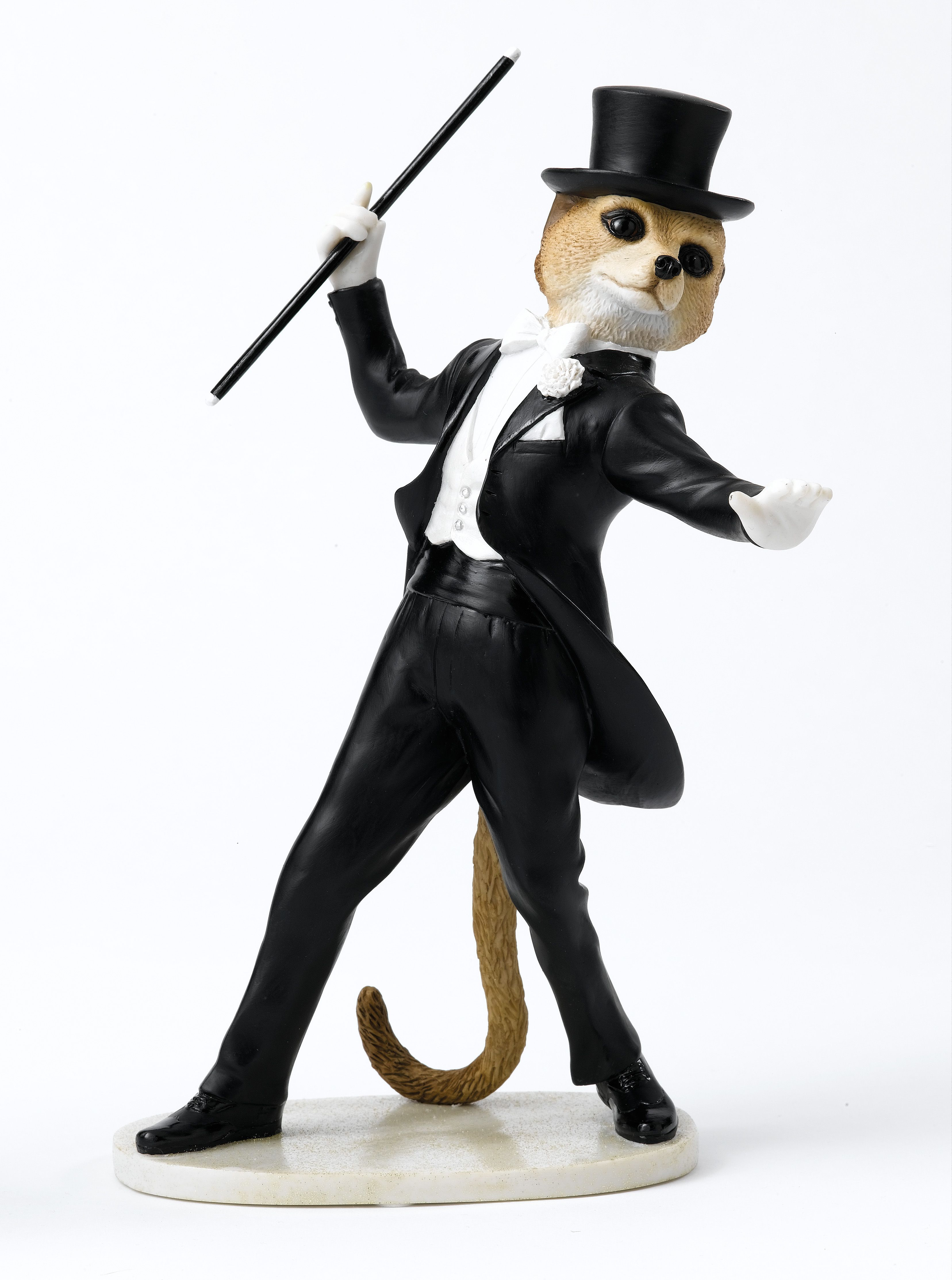 Dressed in his tailored suit, top hat and cane, Dancer is