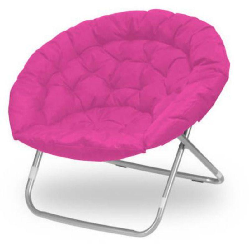 Papasan Chair Micro Suede Oversized Seat Moon Chair Pink Kids Dorm