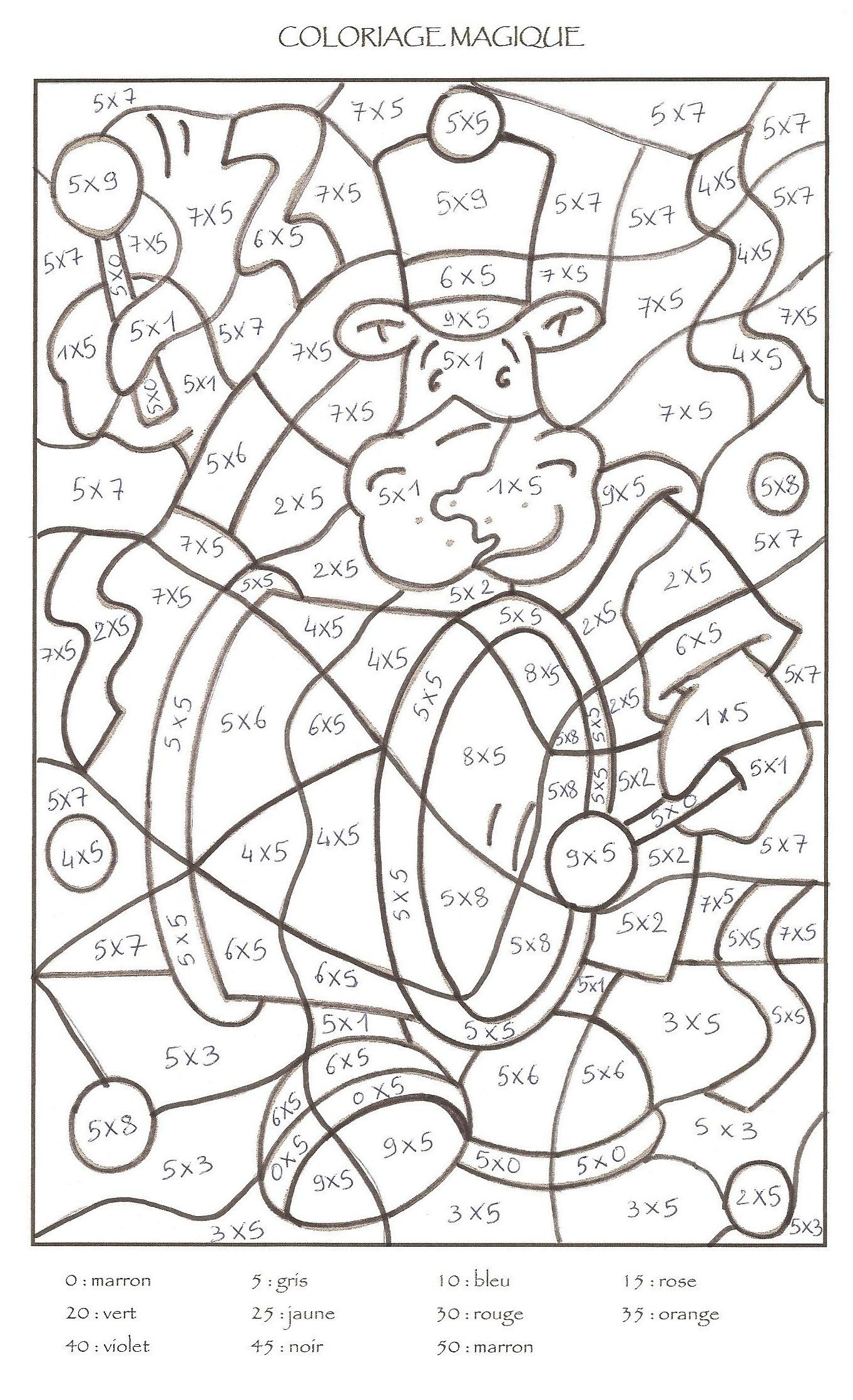 Coloriage magique cp colorier dessin imprimer for Table de multiplication par 7