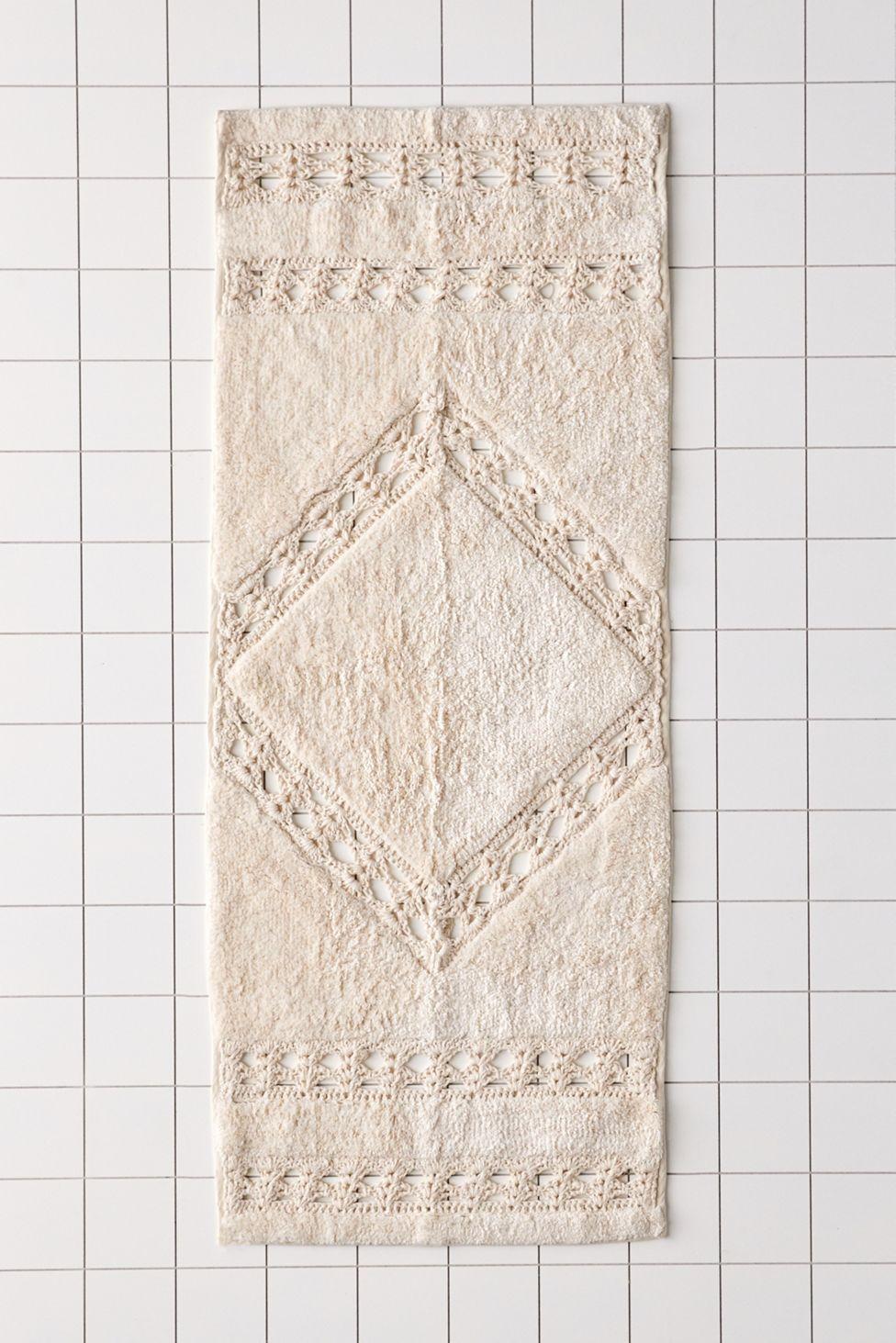 Crochet Inset Runner Bath Mat Urban Outfitters Runner Bath Mat Bath Rugs Cotton Bath Rug [ 1463 x 976 Pixel ]