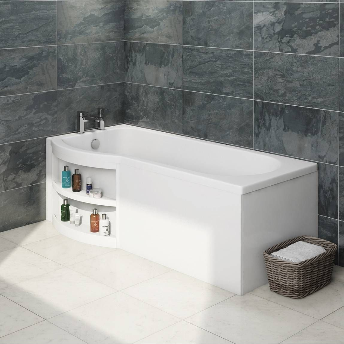 Bathroom Accessories Victoria Plumb myspace water saving p shape shower bath left hand with storage