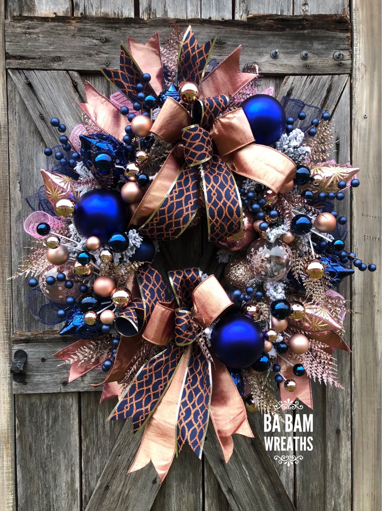 Ba Bam Wreaths Midnight Blue Christmas Wreath Blush Pink Christmas Christmas Wreath Modern Christ Christmas Wreaths Pink Christmas Wreath Elegant Christmas