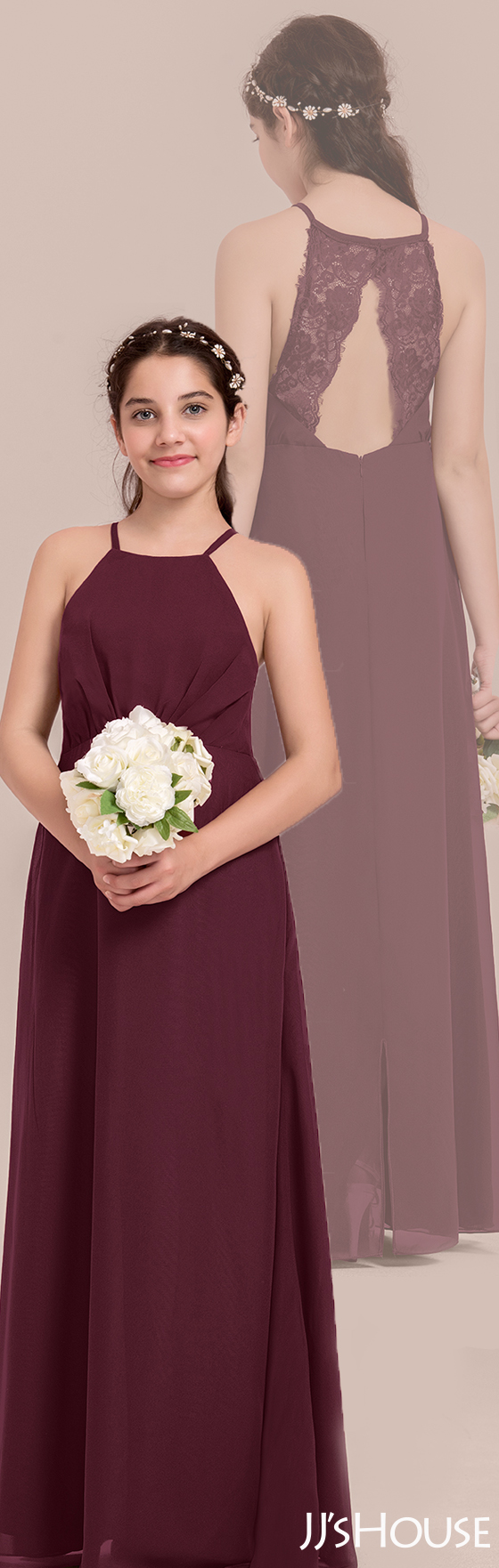 8eb123d1f18 This junior bridesmaid dress has a classic design in the front and a special  back design!  JJsHouse  Junior  Bridesmaid
