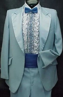 Sky Baby Blue Mens Tuxedo Jacket Or 4pc Tux Retro After 6