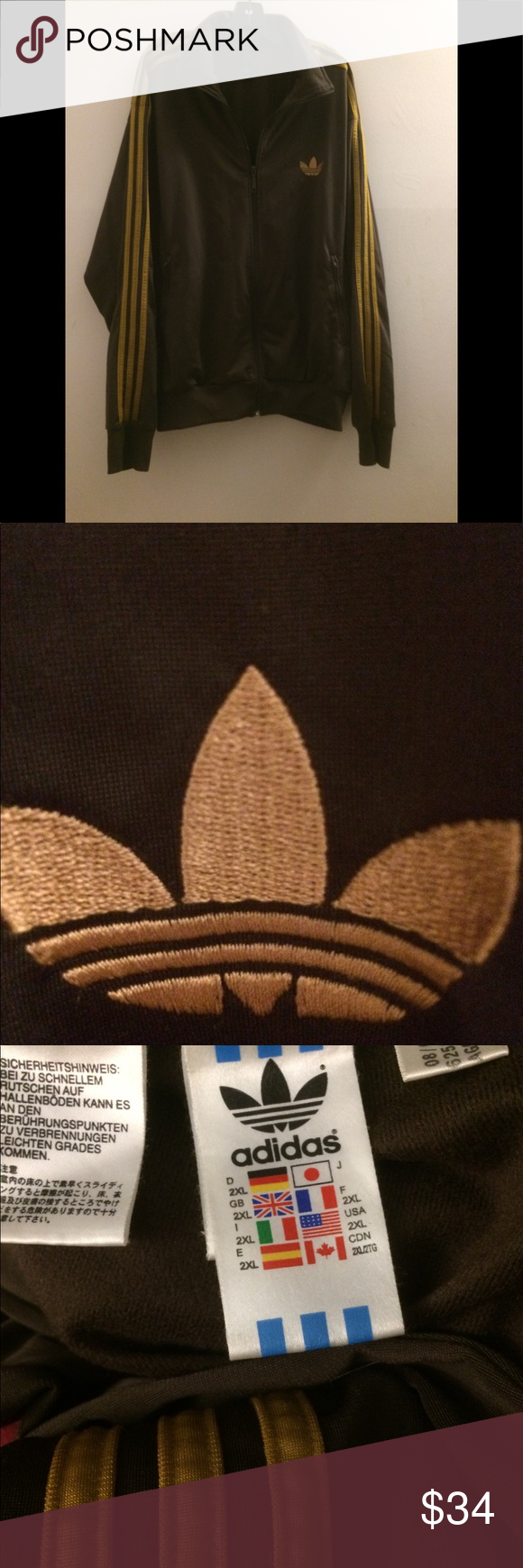 Adidas 3 stripe Original Brown And Gold Adidas Starter
