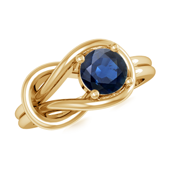 Angara Lovers Knot Solitaire Blue Sapphire Ring in 14k Yellow Gold