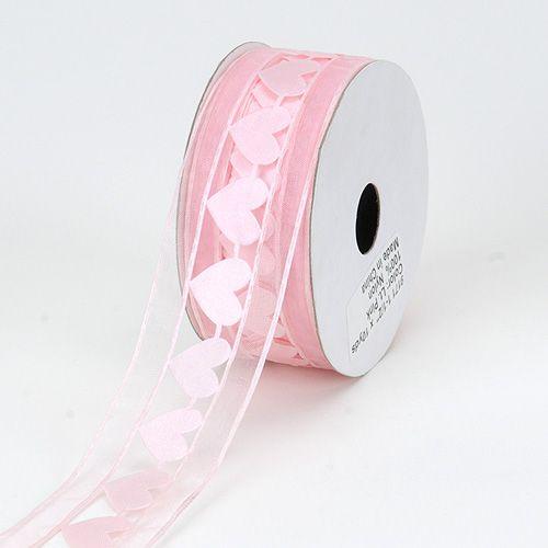 *Best Price Ribbon - Light Pink - Organza Heart Ribbon