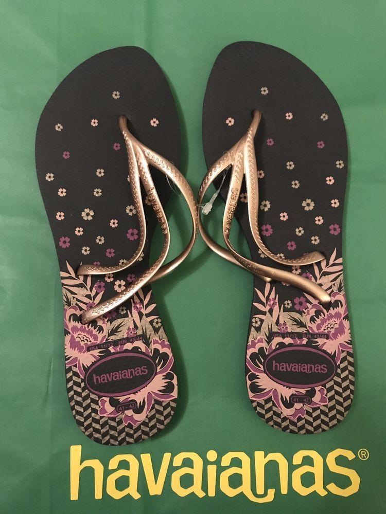 9b11bc290 Havaianas Womens Tria Floral Rubber Thong Flip-Flops Shoes US 11 12 BRZ  41 42 887252267098