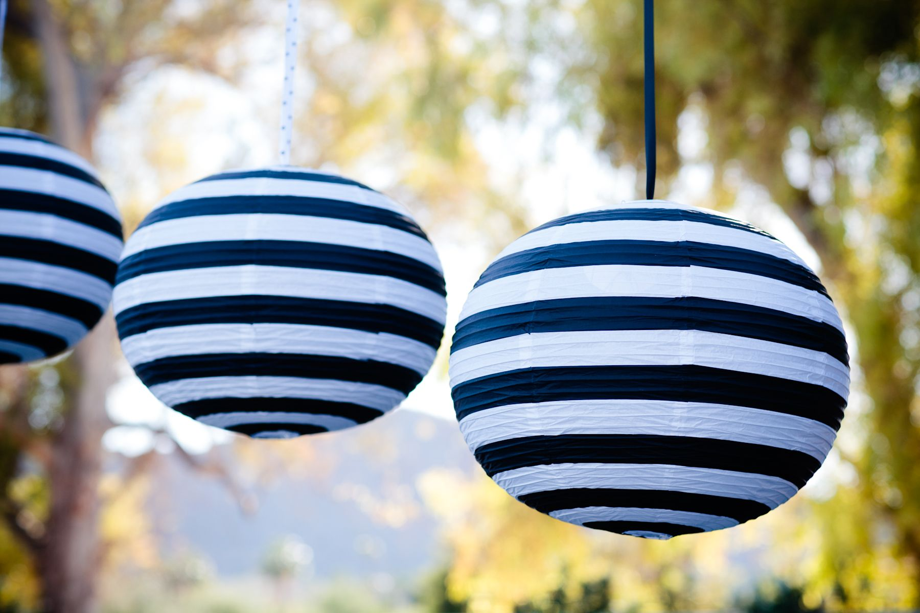 Hanging black and white striped lanterns for decor at the outdoor cocktail reception