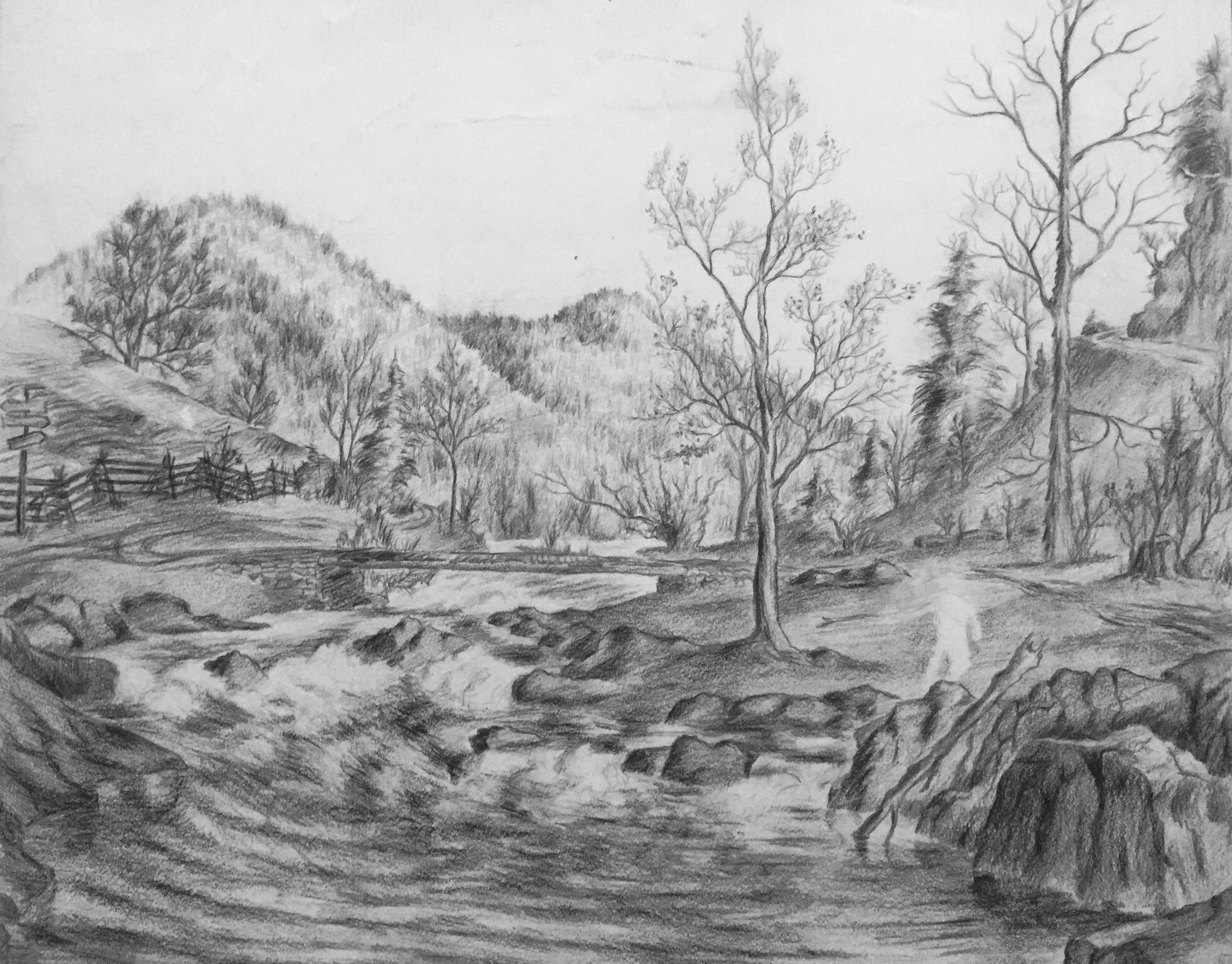 Mountain river original unfinished pencil drawing on paper 1930s