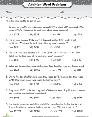 Raffle Time: Addition Word Problems | Words, 2nd grades and Clock