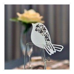 Marque place oiseau coeur par 10 - Les Couleurs du Mariage : Mariage et Réception