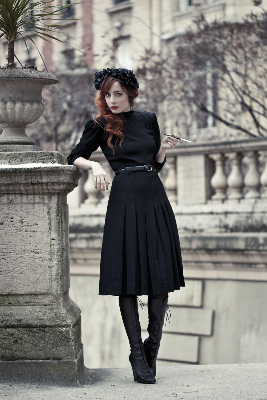 Photos de Pauline Darley. Dress : vintage (offerte par mon ami OhMyLord )  Boots