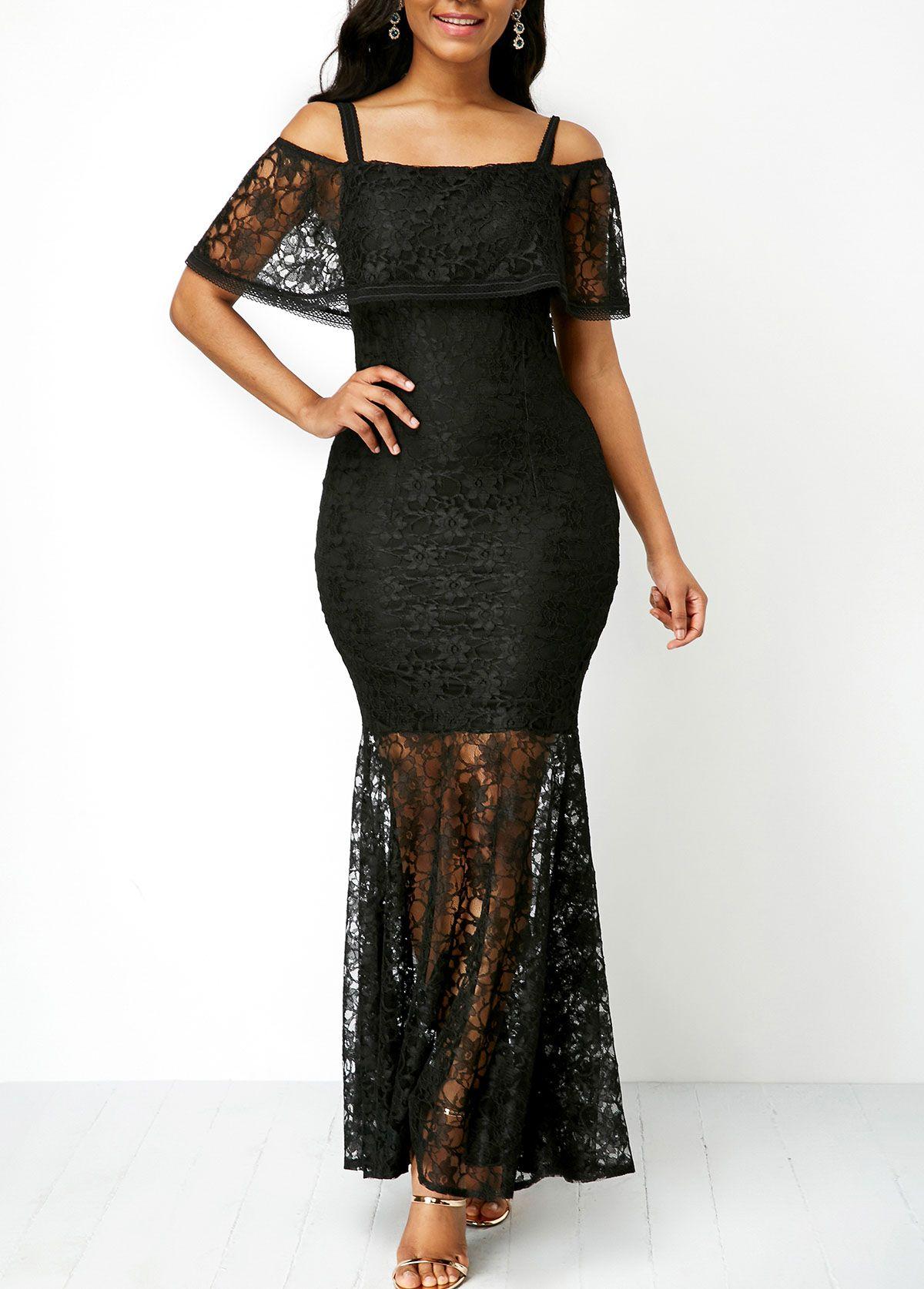 Overlay zipper back cold shoulder black lace dress best deals