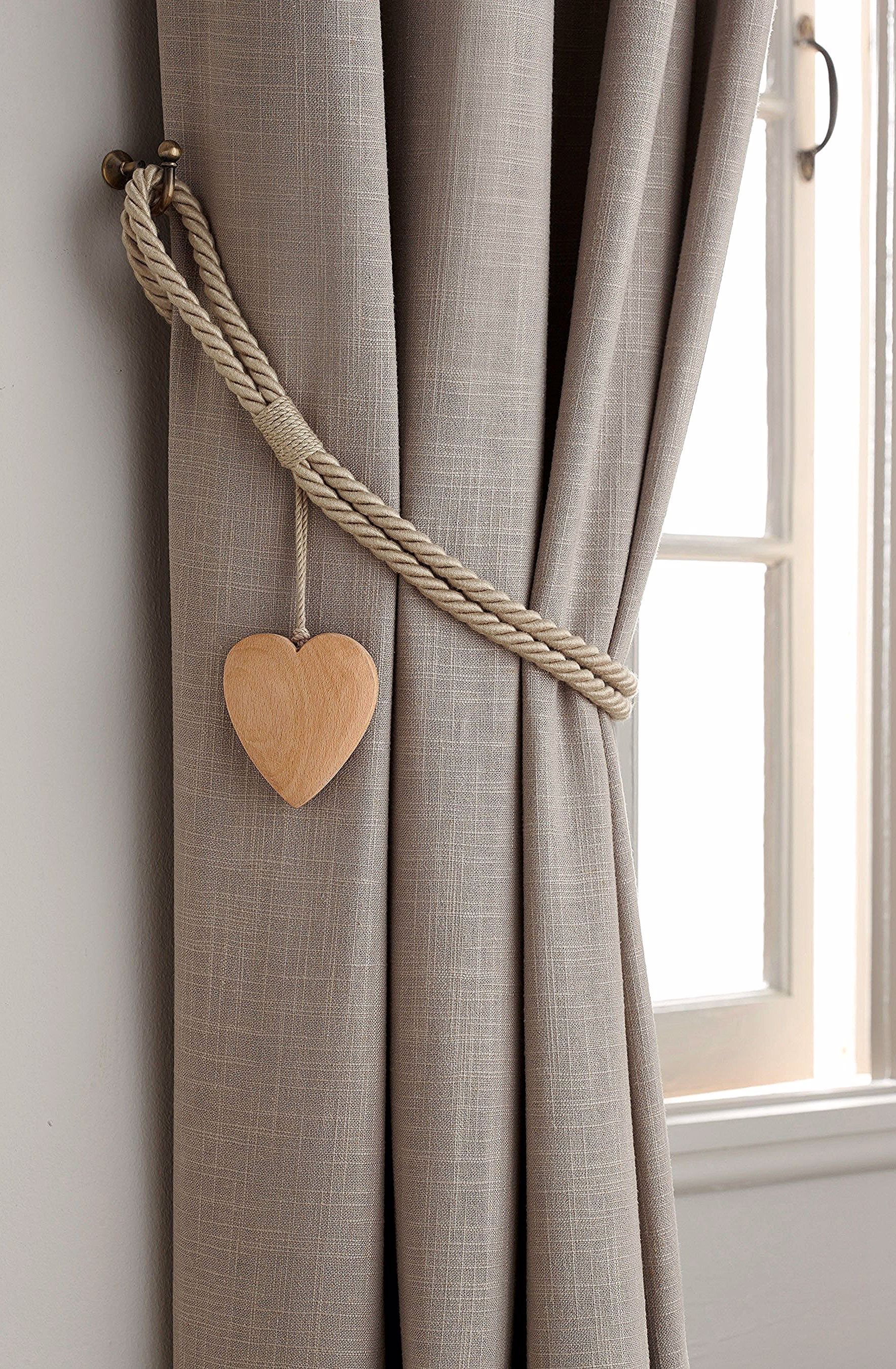 Next Set Of 2 Wooden Heart Tie Backs Natural In 2020 Curtain