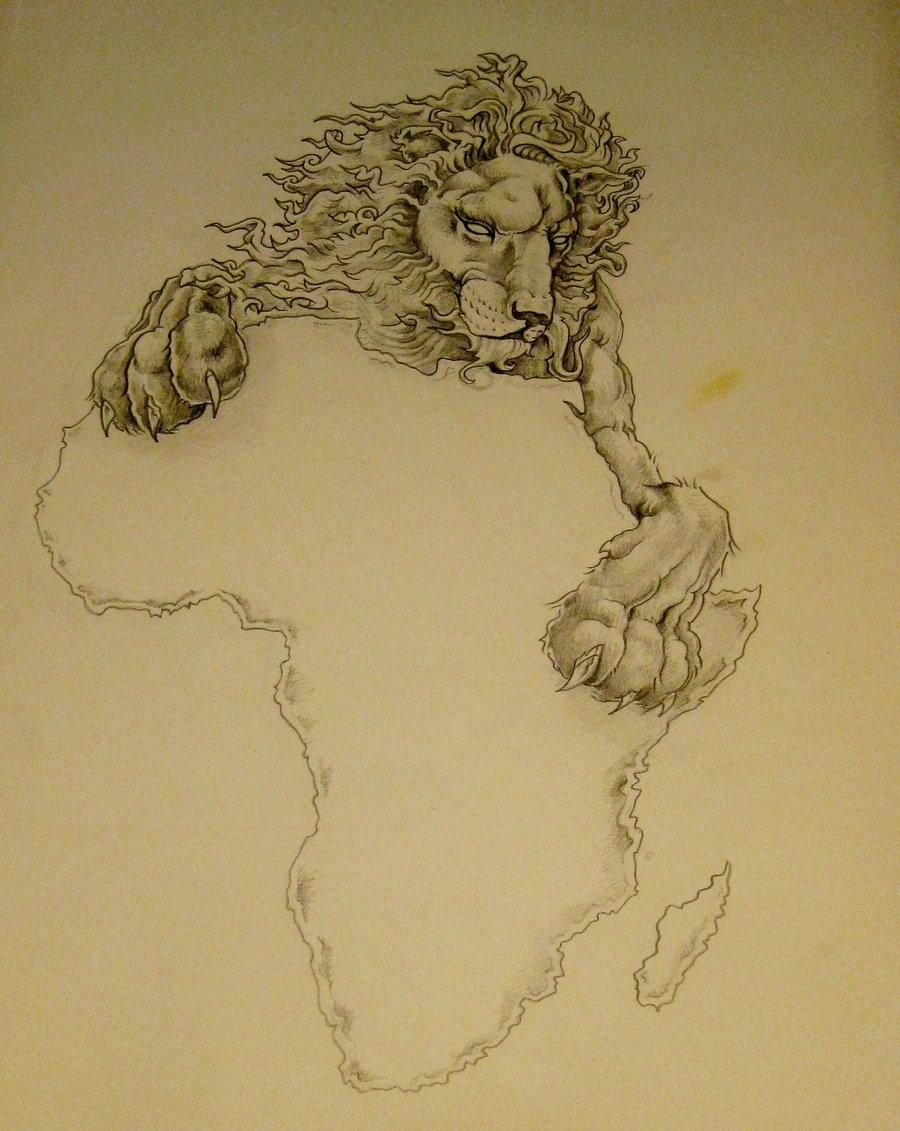 africa map with lion tattoo