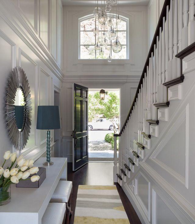 Elegant Foyer Stair Wraps A Paneled Two Story Entry Hall: Foyer Design, Hallway Designs