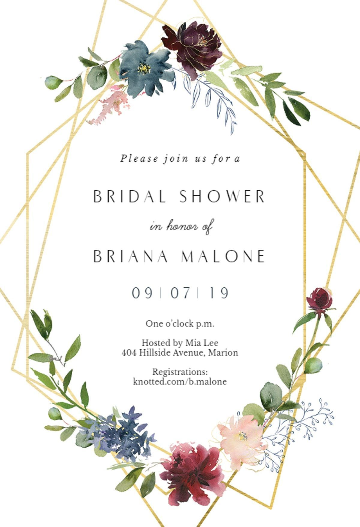 150361625f8f Geometric floral wreath wedding invitations
