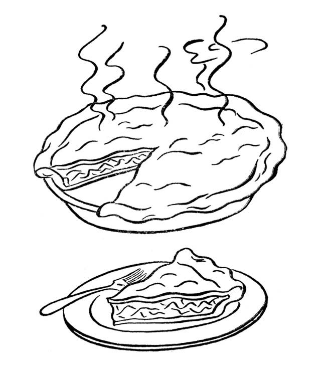 Hot Pumkin Pie Coloring Page Coloring Pages Coloring For Kids Food Coloring Pages